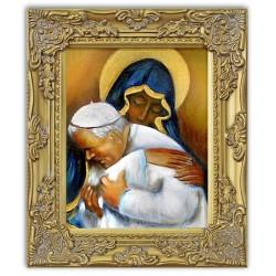 Religiöse Kunst Leinwand + Rahmen Kunstdruck 27x32 cm