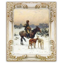 Gemälde alter Meister - Kunstdruck mit Rahmen - 24x29cm