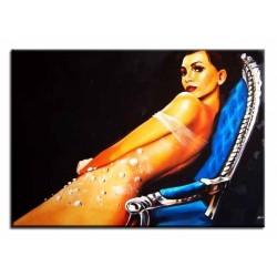 "Tamara de Lempicka ""Romana de la Salle""-Ölgemälde handgemalt Signiert Leinwand-Rahmen 75x105cm"