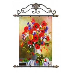 Rosen-Holz-Signiert22x68cm