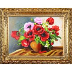 Sonnenblumen-Holz-Signiert 22x22cm