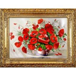 Sonnenblumen-Holz-Signiert 22x68cm