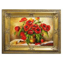 Sonnenblumen- Ölgemälde handgemalt Signiert Leinwand+Rahmen 37x47cm