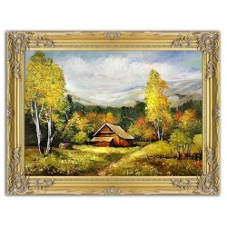 Traditionelle Landschaften - Ölgemälde handgemalt Signiert Leinwand-Rahmen 66x76cm