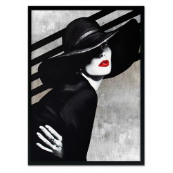 """Tamara de Lempicka """" Frau in der Taube""""-Kunstdruck mit Rahmen - 27x32cm"""