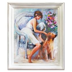 """Alfons Mucha """"Painting""""-reprodukcja płótno 40x40 cm"""